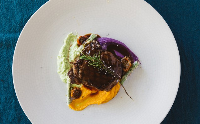 Sirloin With 3 Color Mashed And Burnt Rosemary
